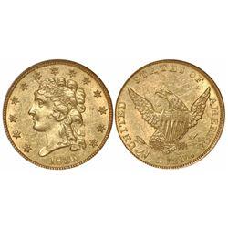 USA (Philadelphia mint), $2-1/2 Classic Liberty, 1836, from the SS New York (1846), encapsulated NGC