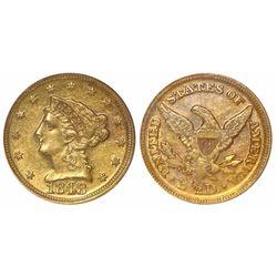 USA (Dahlonega mint), $2-1/2 Coronet Liberty, 1848-D, encapsulated PCGS MS61.