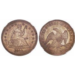 USA (New Orleans mint), quarter dollar seated Liberty, 1840-O, no drapery, encapsulated NGC AU detai