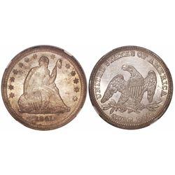 USA (Philadelphia mint), quarter dollar seated Liberty, 1841, encapsulated NGC MS 62, from the New O