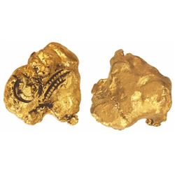 "Gold ""oro corriente"" nugget with circular tax stamp and stamp ""C"" for Charles I of Spain, 21.41 gram"