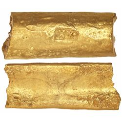 "Cut piece of a gold ""finger bar"" ingot, 182 grams, marked with fineness XX• (20.25K), from the ""Gold"