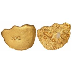 "Irregular gold ""splash"" ingot, 267 grams, marked with fineness XXI (21K), from the 1715 Fleet, ex-Bo"
