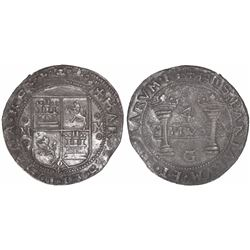 "Mexico City, Mexico, 4 reales, Charles-Joanna, ""Early Series,"" assayer G at bottom between pillars."