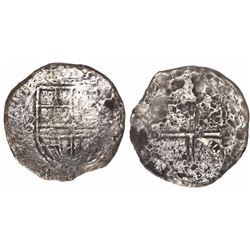 Mexico City, Mexico, cob 8 reales, Philip II or III, assayer not visible but style of F-oD with deno