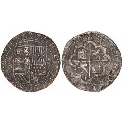 Mexico City, Mexico, cob 2 reales, Philip III, assayer F.