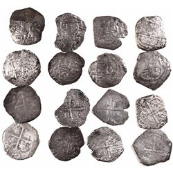 Lot of 8 Mexico City, Mexico, cob 4 reales, Philip III, assayer F (where visible).