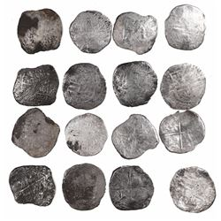 Lot of 8 Potosi, Bolivia, cob 8 reales, Philip II and III, various assayers (where visible).