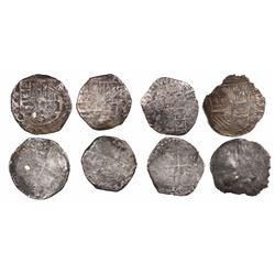 Lot of 4 Potosi, Bolivia, cob 4 reales, Philip II and III, various assayers (where visible).