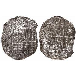 Mexico City, Mexico, cob 8 reales, Philip III, assayer not visible, Grade 3.