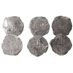 Lot of 3 Mexico City, Mexico, cob 8 reales, Philip III, assayers not visible, Grade 3.