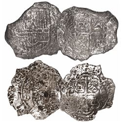 Lot of 2 Mexico City, Mexico, cob 2 reales, Philip III, assayer D (where visible), Grade 3.