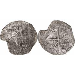 Potosi, Bolivia, cob 8 reales, 16(1)7M, Grade 1.