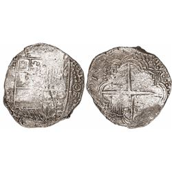 Potosi, Bolivia, cob 8 reales, 1617(M), date at 7 o'clock, Grade 3.