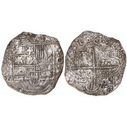 Potosi, Bolivia, cob 8 reales, 1618PAL (rare), Grade 3.
