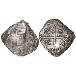 Potosi, Bolivia, cob 8 reales, 1619(T), quadrants of cross transposed, Grade 3, with original tag bu