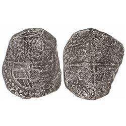 Potosi, Bolivia, cob 8 reales, (16)20T, upper half of shield transposed, Grade 3.