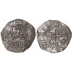 Potosi, Bolivia, cob 8 reales, 162(?)T, quadrants of cross transposed, Grade 2.