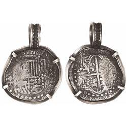 Potosi, Bolivia, cob 8 reales, Philip III, assayer T, Grade 3, mounted in silver pendant-bezel, with