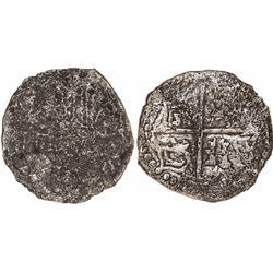 Potosi, Bolivia, cob 8 reales, Philip III, assayer T, Grade-3 quality but Grade 4 on the certificate