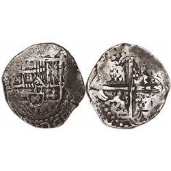 Potosi, Bolivia, cob 8 reales, Philip III, assayer not visible, Grade 1, with original tag but certi