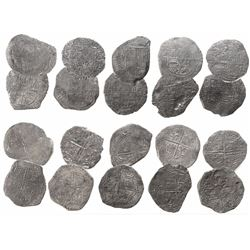Lot of 10 Potosi, Bolivia, cob 8 reales, Philip II and III, various assayers (where visible), all Gr