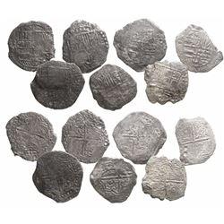 Lot of 7 Potosi, Bolivia, cob 8 reales, Philip III, various assayers (where visible), Grade 3.