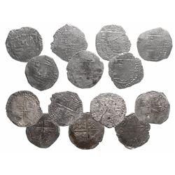 Lot of 7 Potosi, Bolivia, cob 8 reales, Philip III, assayers not visible, Grade 3.