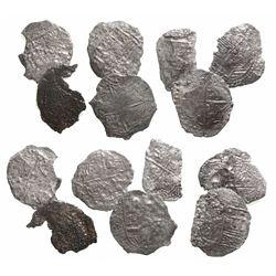 Lot of 7 Potosi, Bolivia, cob 8 reales, Philip III, assayers not visible, Grade 4.
