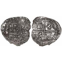 Potosi, Bolivia, cob 4 reales, Philip II, assayer RL, Grade 3.