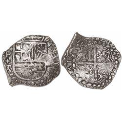 Potosi, Bolivia, cob 4 reales, 1619T (rare in this denomination), Grade-1 quality but Grade 3 on the