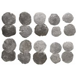 Lot of 10 Potosi, Bolivia, cob 4 reales, Philip II and III, various assayers (where visible), all Gr