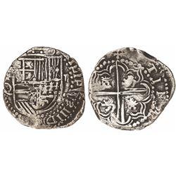 Potosi, Bolivia, cob 2 reales, Philip III, assayer Q, ex-Research Collection, Plate Coin #183.