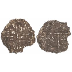 """Mexico City, Mexico, cob 2 reales, Philip III, assayer not visible, Grade 4 (""""2 points""""), with hand-"""