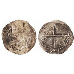 Potosi, Bolivia, cob 2 reales, Philip III, assayer not visible, quadrants of cross transposed.