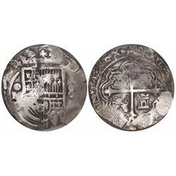 Mexico City, Mexico, cob 8 reales, 1619/8D/F, Grade 1, encapsulated NGC shipwreck effect / Sao Jose,