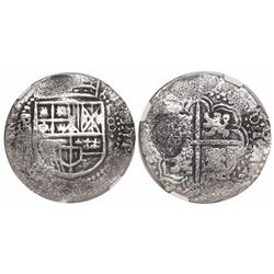 Potosi, Bolivia, cob 8 reales, (1649O), with crown-alone (rare) countermark on cross, encapsulated N