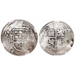 Potosi, Bolivia, cob 8 reales, 16(49)O, date at 7 o'clock, with crowned-L countermark on cross, enca