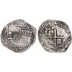 Potosi, Bolivia, cob 8 reales, 1650/49O, crowned-•F• (4 dots) countermark on shield.