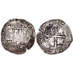 Potosi, Bolivia, cob 8 reales, (1650-1)O, with crowned-O countermark on cross.