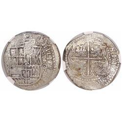 Potosi, Bolivia, cob 8 reales, (1650-1)O, with crowned-L countermark on cross, encapsulated NGC Genu