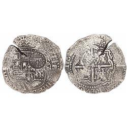 Potosi, Bolivia, cob 8 reales, 16(50-51)O, with crown-alone countermark on shield.