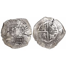 Potosi, Bolivia, cob 8 reales, (1650-1)O, with crowned-(?) countermark on cross.