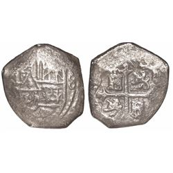 Mexico City, Mexico, cob 4 reales, Charles II, obverse struck with 8R die (rare).