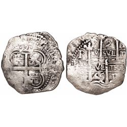Potosi, Bolivia, cob 2 reales, 1665E.