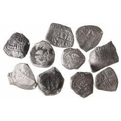 Lot of 10 Mexico City, Mexico, cob 4 reales, Philip IV through Philip V, various assayers (where vis