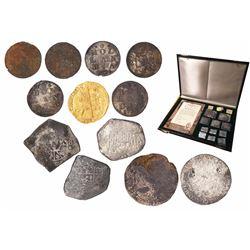 """Promotional set of 12 coins, as follows: 1 Dutch gold ducat (Utrecht mint, 1724), 2 Dutch silver """"ri"""