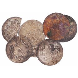 Lot of 6 Holland, Netherlands, 2 stuivers, 1724 (one broken in two).