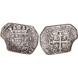 Mexico City, Mexico, klippe 8 reales, (1)733MF, very rare provenance.