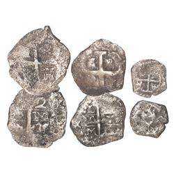 Lot of 3 silver-cob minors of Philip V with partial dates only (1730s): 2R Lima, 1R Lima, and 1/2R P